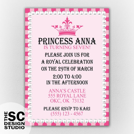 Little Girl Princess Birthday Party Invitation - Royal Celebration - Print At Home Digital File