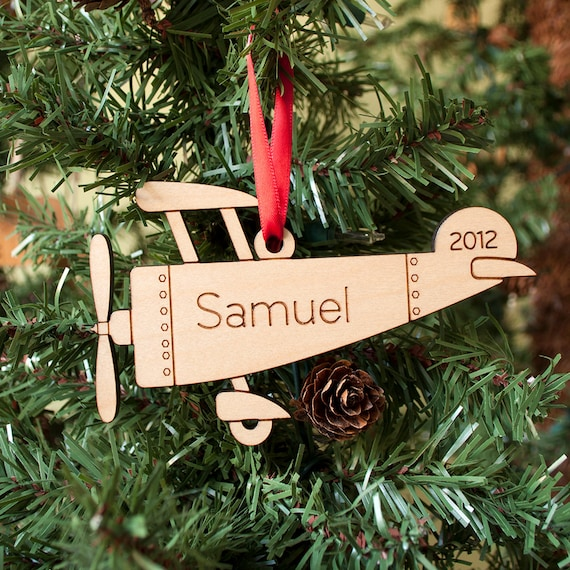 Kids Wooden Airplane Christmas Ornament: Babys First Christmas Personalized