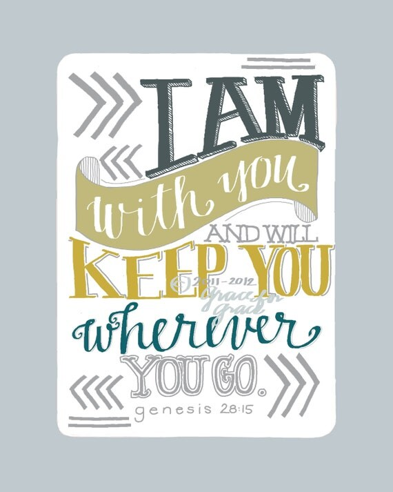 Christian Art - I Am With You and Will Keep You - 5x7 Giclee Print - Scripture Art, Hand Typography, Bible Verse Art, Blue, Mustard