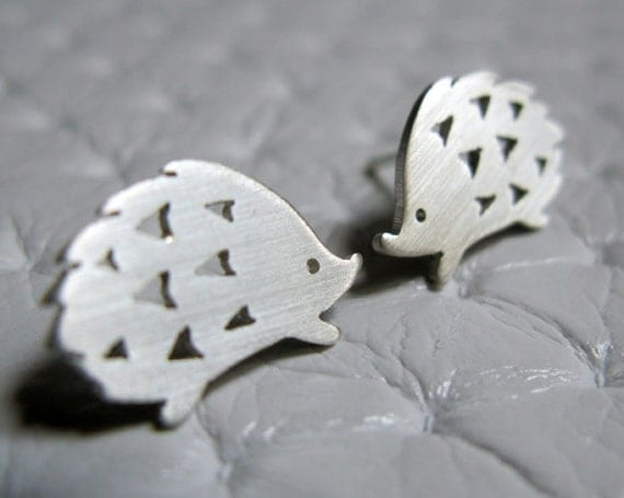 Little Playful Hedgehog - Sterling Silver Stud Earrings