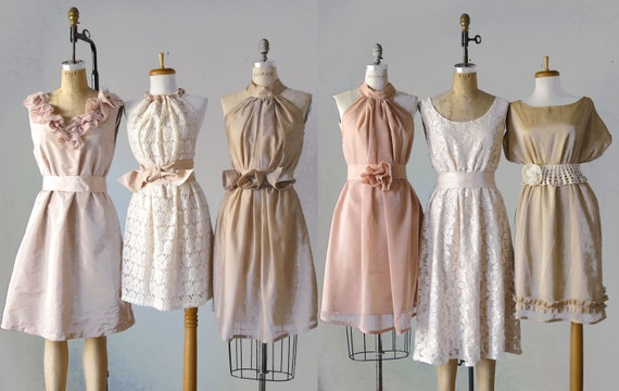 mismatched bridesmaid dresses / Dress / Bridesmaid / Romantic /  tan /lace /blush  / Fairy / Dreamy / Bridesmaid / Party / wedding / Bride