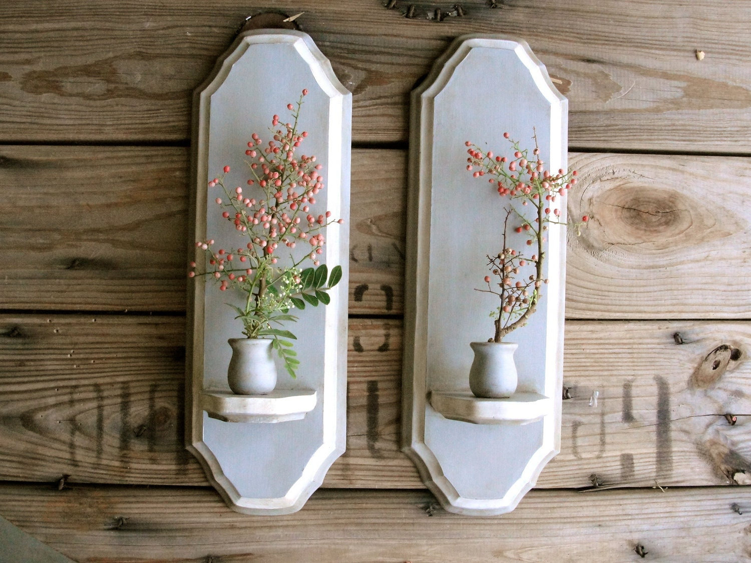 wall sconces pair of upcycled wood candle holders by paperjar