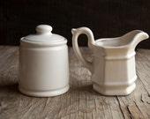 Creamer and Sugar Bowl Set - Vintage White Ceramic - TheVintageParlor