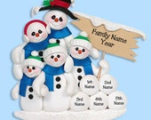 Snowman  Family of 5 HANDMADE POLYMER CLAY Personalized Christmas Ornament - PersonalizedOrnament