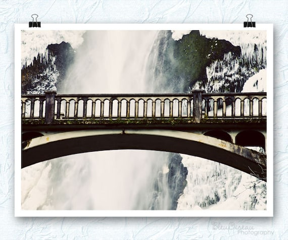 Multnomah Falls, Oregon, waterfall photography, bridge, 8x12 print