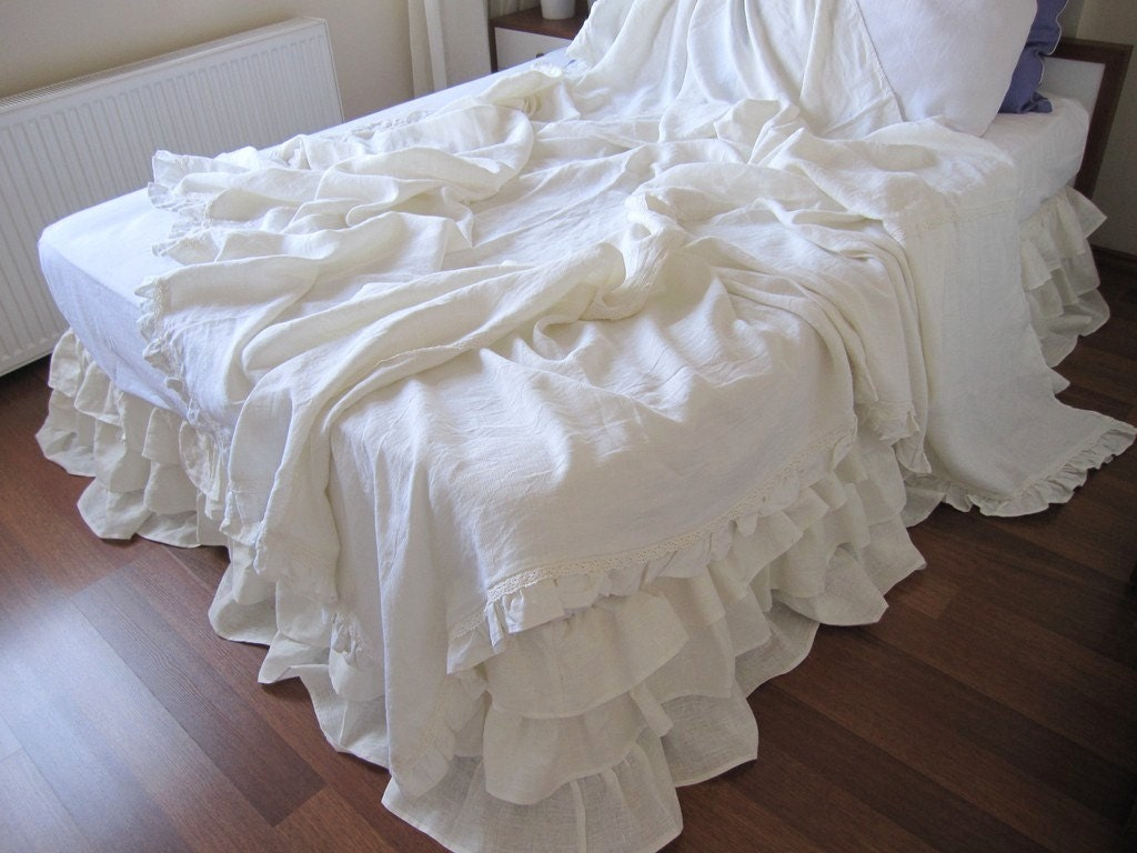 Shabby chic ruffle bedding solid white ivory pink by nurdanceyiz - Spots of color in the bedroom linens and throws ...