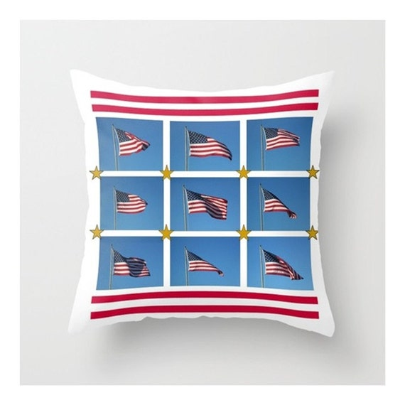 """Pillow Cover, American Flag,  Modern Graphic Pop Art Photograph on Square 16""""x16"""" Pillow Cover, Now You Can Hug Your Country"""