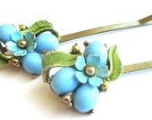 Blue Enamel Hair Accessories Vintage Jewelry Flowers Bobby Pins Clips