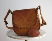 Leather Bag Purse - Mexican Floral Brown EMBOSSED - 1960s VINTAGE - fiiimac