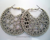 Grey glitter crochet hoop earrings-2 inch small