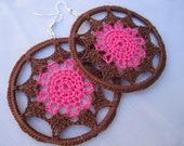 Hot Pink and brown flower bomb Crochet Earrings