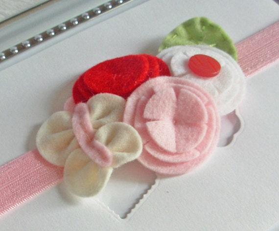 Passion Butterfly. Felt Flowers Headband.  Newborn's Gift. Girls Headband. Wool Felt.