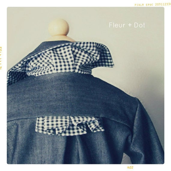 jean jacket with gingham accent for children