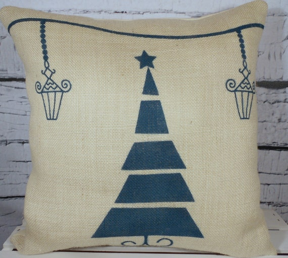 Burlap Christmas pillow cover handpainted with Christmas tree and lamps - Pillow Insert Sold Separately
