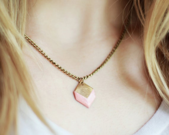 Geometric Shape Necklace (Pink Coral) - Modern Handmade Jewellery