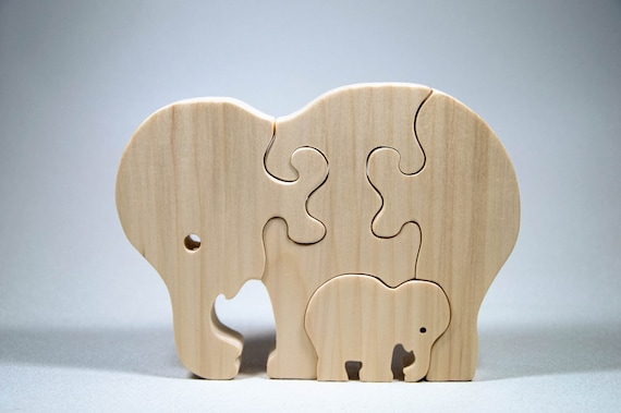 Elephant Puzzle Wood Baby Elephant Eco Friendly and Green for Toddlers and Children