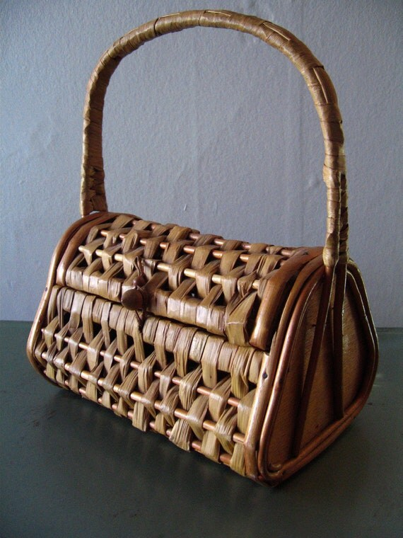 40's 50's Basket Purse Spain Vintage Box Bag