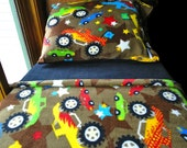 Childrens Bedding Set  'Monster Trucks with Black' Handmade Fleece Bed Set Fits Crib and Toddler Beds