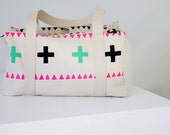 Canvas hand stenciled weekender duffel bag - spiralgirl