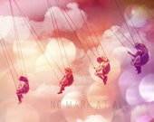 Carnival Swings Sky Pink Purple Dreamy  8x10 Print - NoMarkAtAll