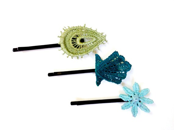 Lace Hair Pins Hand Painted - Olive Teal Aqua - Customizable Colors - Beach Wedding Nautical