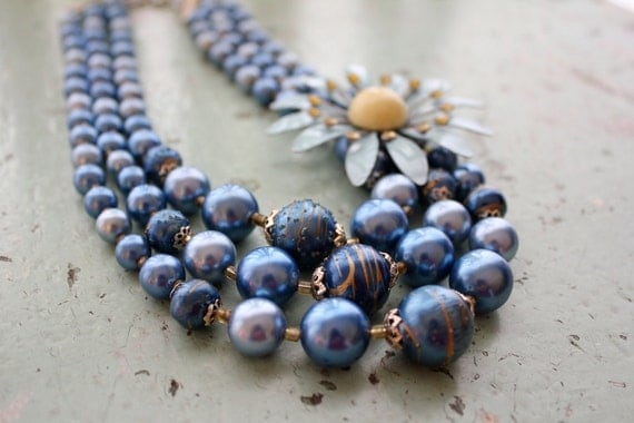 Necklace Upcycled Blue Flower Vintage Multi Strand