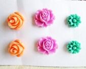 Bridesmaids Floral Studs Flower Earrings Wedding Floral Studs Post Set Lot of 3 Orange Turquoise Aqua Mint Green Peach Purple - Jewelsalem