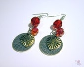Earrings with Heart & Circle Charm, and Red Glass Beads
