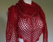 fishnet bright red blood red crocheted triangular shawl openwork - delectare