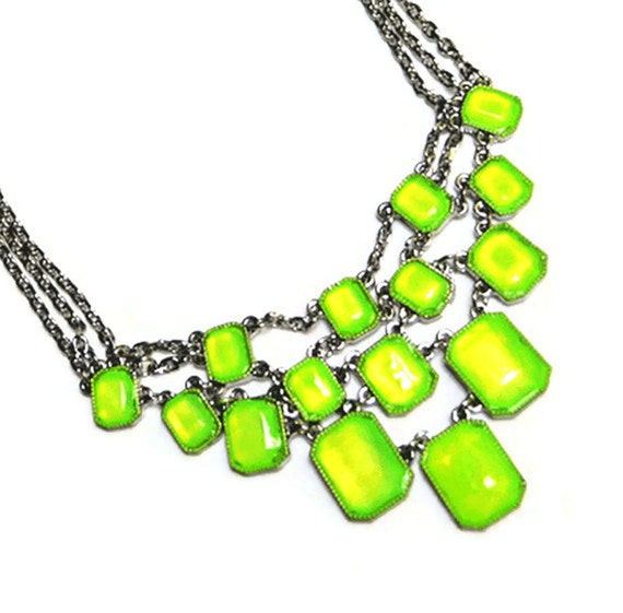 neon Acid Green rhinestone small statement necklace