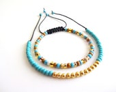 Beaded Friendship Bracelets, Turquoise, Topaz, and Gold Seed Bead Bracelets, Macrame Friendship Bracelet - purplepearl7