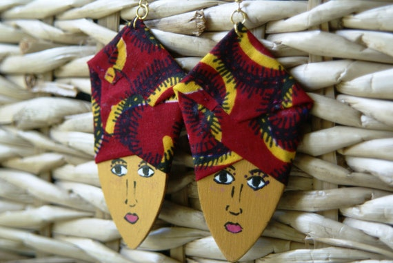 Wood Earrings- Elegant Ladies in Headwraps