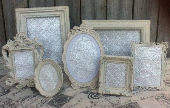 Vintage Style Small PICTURE FRAMES - Baby - Wedding - Heirloom White - Shabby Chic - Glass and Easel Backing