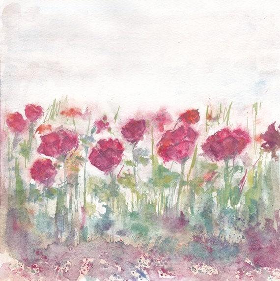 aguarela da flor original - flor vermelha