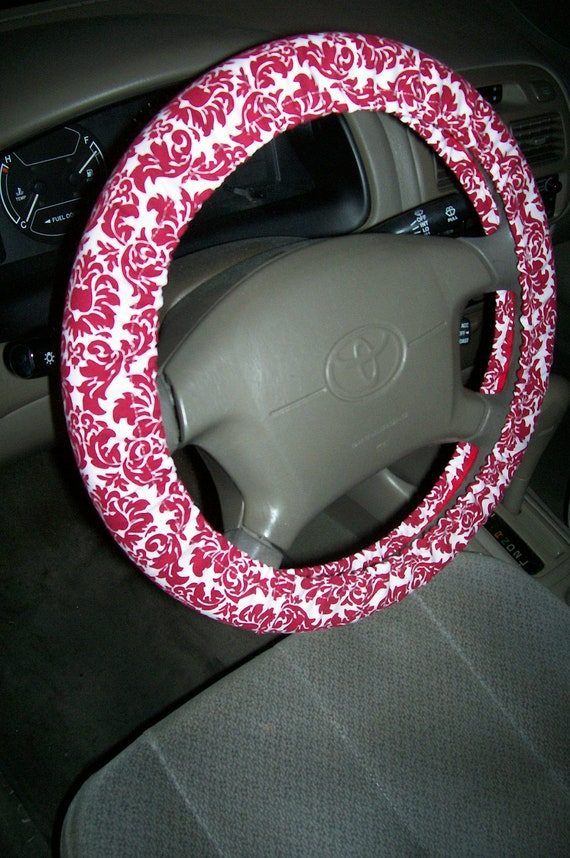 Red and White Damask Steering Wheel Cover