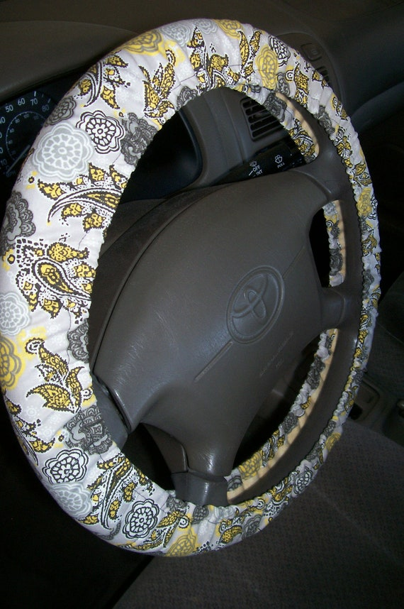 Paisley Gray Steering Wheel Cover