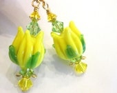 50 % Off  Sale, Tulip Lampwork Earrings, Yellow And Green With Swarovski Crystals - violetsvintagevault