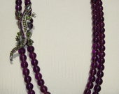 Handmade women purple glass bead necklace with rhinestones lezard