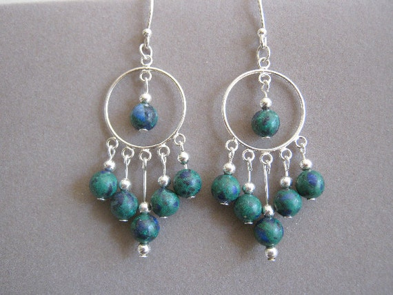 Malachite and Azurite Genuine Gemstone Sterling Silver Hoop Earrings