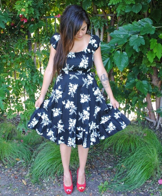 Womens Dress, Black with White Floral Design, Rockabilly, Pin Up  & Retro style