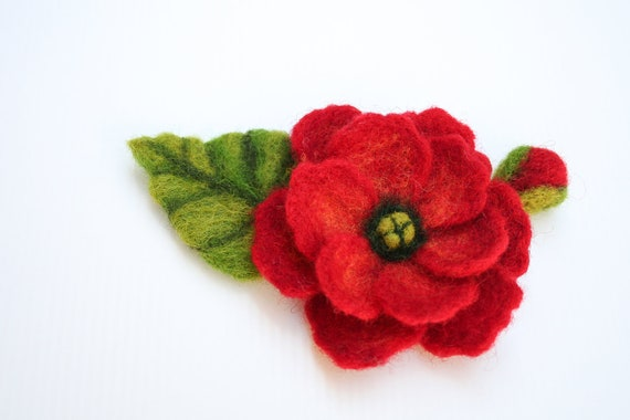 Felted Brooch Flower/ Red Flower Pin/ Handmade/ From Israel