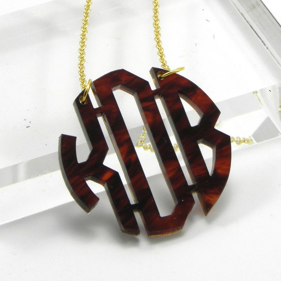 Tortoise Monogram Necklace - Gifts for Bridesmaid - Personalized Custom Laser Cut Acrylic Jewelry
