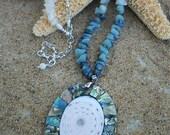 Abalone Shell Pendant with Amazonite and Lapis Lazuli