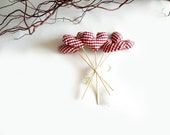 hearts bouquet - red white gingham - home decor - lalunadianna