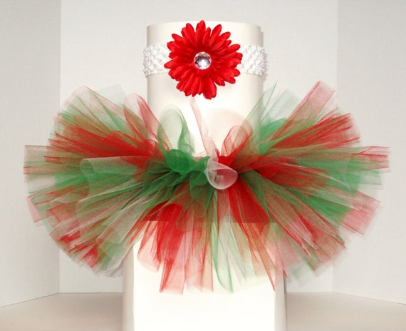 Christmas Tutu - Winter Tutu - Baby Tutu - Red, Green and White Tutu - Headband and Flower Clip Included