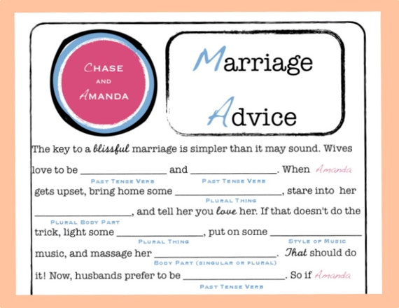 Wedding Guest Book MAD LIBS - Marriage Advice - PDF File