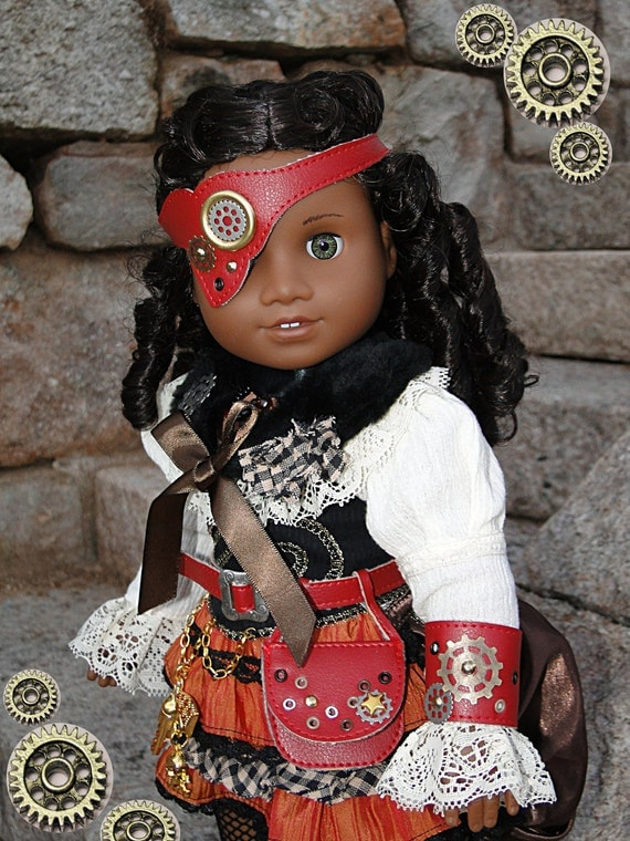 11 pcs Steampunk Victorian Style Costume for American Girl or other 18 inch doll
