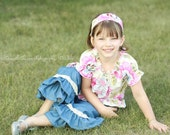 Denim double ruffle pants with vintage style lace accent. Available sizes 12 months to 6 years.  Larger sizes available.