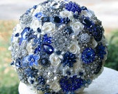 Deposit on sapphire royal blue brooch bouquet. Made to order heirloom bridal bouquet - annasinclair