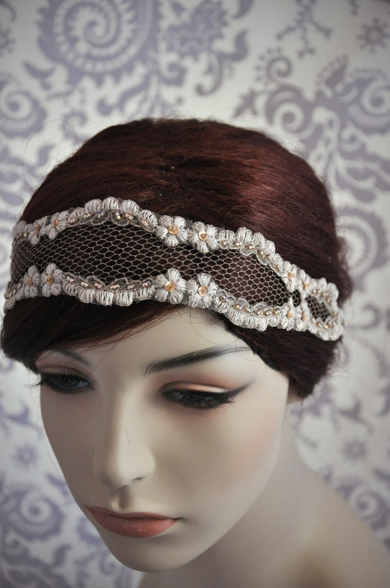 Champagne Bridal Headband, Boho Bridal accessories, Bohemian Headband, Champagne Lace Headband with Netting